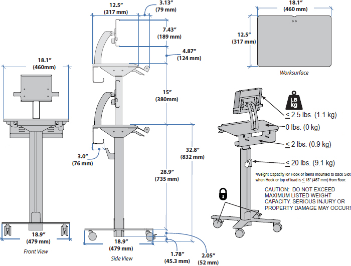 Technical drawing for Ergotron SV10-1400-0 StyleView Tablet Cart, SV10, non-powered