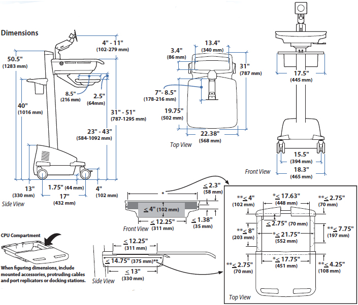 Technical Drawing for Ergotron SV42-6202-1 StyleView Cart with LCD Arm, LiFe Powered