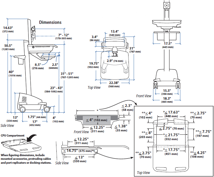 Technical Drawing for Ergotron SV42-6301-1 StyleView Healthcare Cart with LCD Pivot, SLA Powered