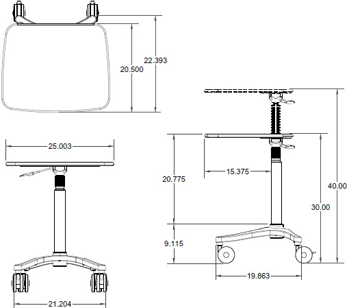 Technical Drawing for Ergotron ZAL25CG/CG4 Anthro Zido 25 Height Adjustable Cart, Light Load