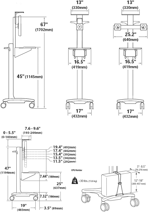 Technical Drawing for Ergotron 24-189-055 Neo-Flex WideView WorkSpace Cart