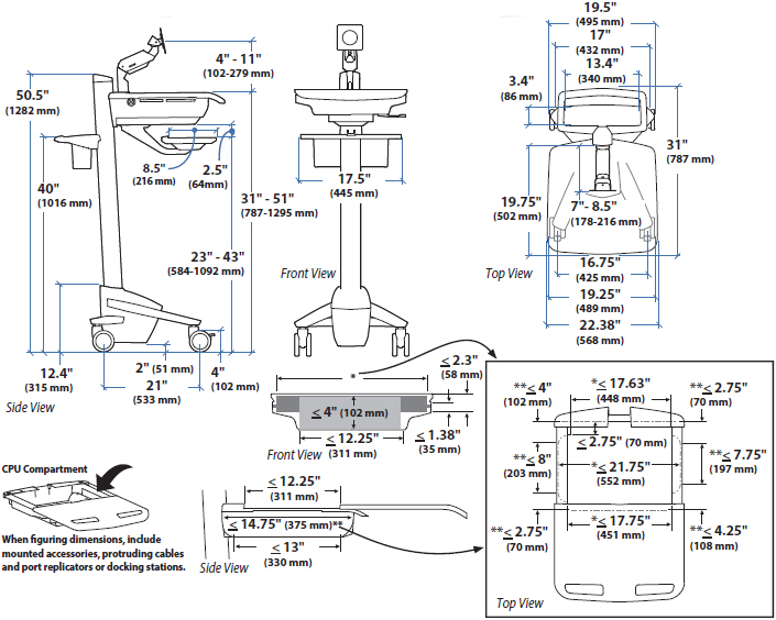 Technical Drawing for Ergotron SV41-6200-0 StyleView Cart with LCD Arm