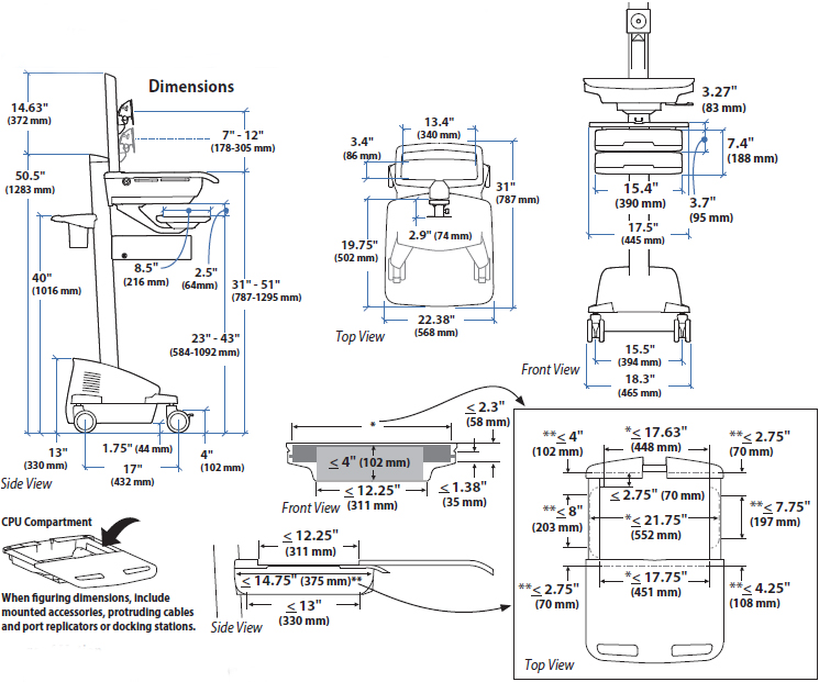 Technical Drawing for Ergotron SV44-53T1-1 Telemedicine Cart, Single Monitor, Powered