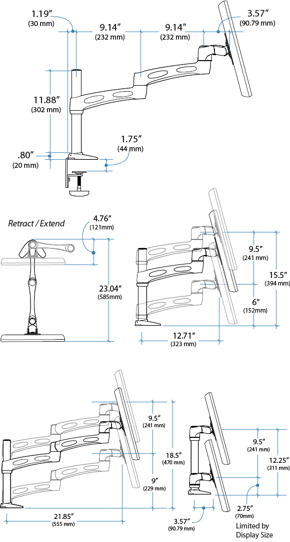 Technical Drawing for Ergotron Neo-Flex Desk Mount Arm