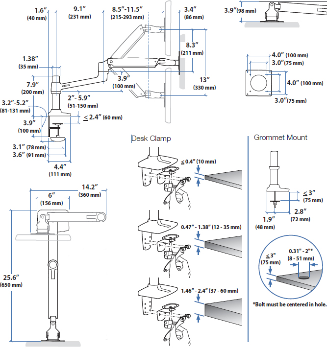Technical drawing for Ergotron 45-241-026 LX Desk Mount Arm