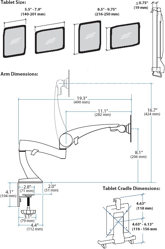 Technical drawing for Desk Mounting Tablet Arm, ErgoDirect ED-IP-NFDM