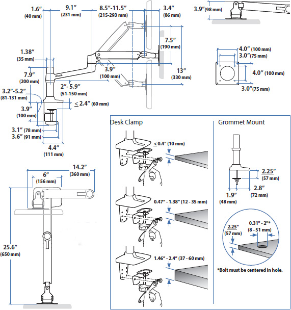 Technical drawing for ergotron-45-241-224-LX-desk-mount-monitor-arm-drawing
