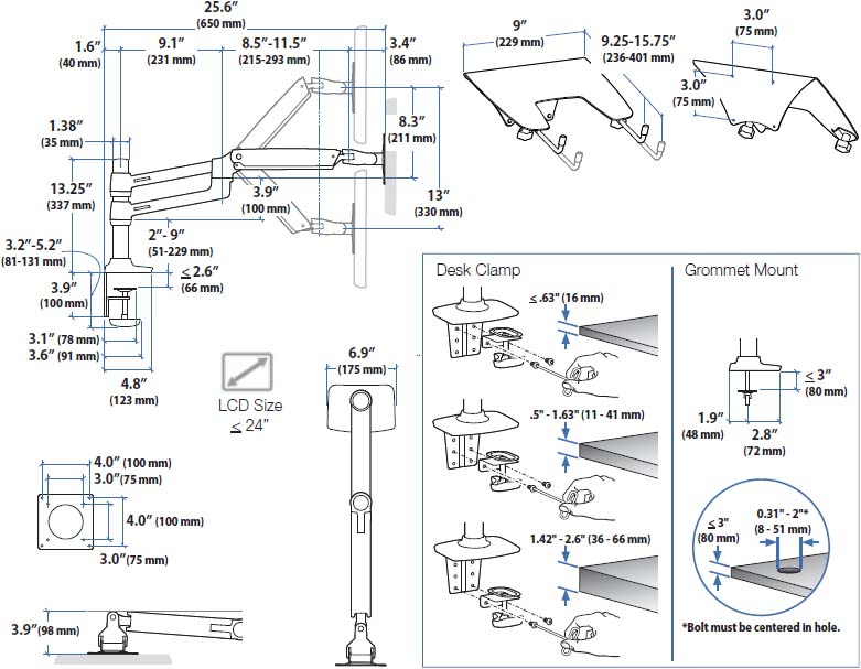Technical drawing for Ergotron 45-248-026 LX Dual Stacking Arm