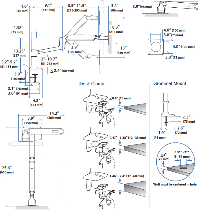 Technical Drawing of Ergotron LX Desk Mount Arm with Tall Pole