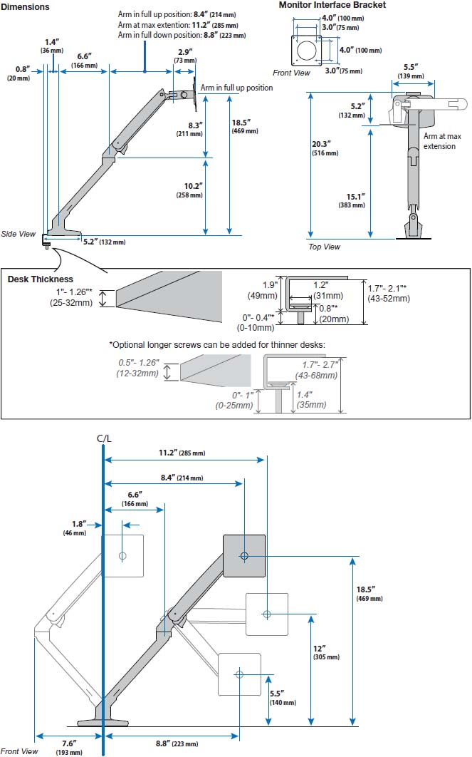 Technical Drawing for Ergotron 45-508-216 MXV Desk Monitor Arm with Under Mount C-Clamp