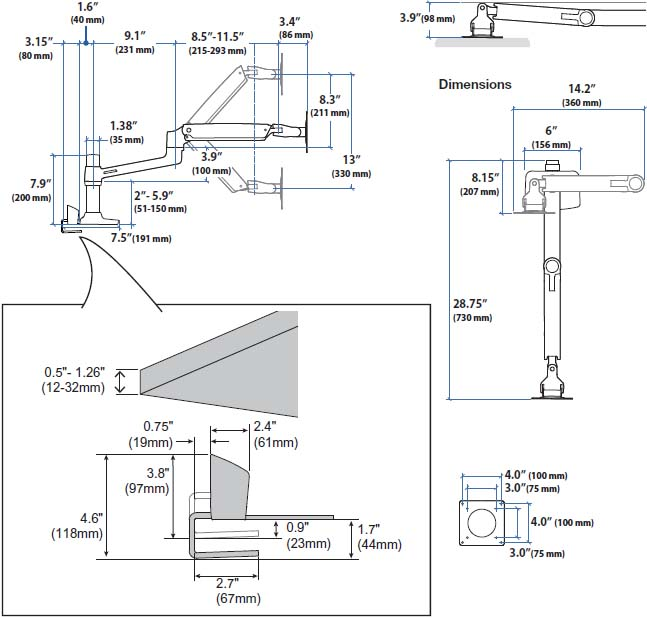 Technical Drawing for Ergotron 45-526-216 LX Desk Monitor Arm with Top Mount C-Clamp