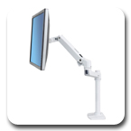 Ergotron 45-537-216 LX Desk Mount Monitor Arm, Tall Pole (white)