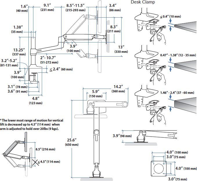 Technical Drawing for Ergotron 45-537-216 LX Desk Mount Monitor Arm, Tall Pole (white)