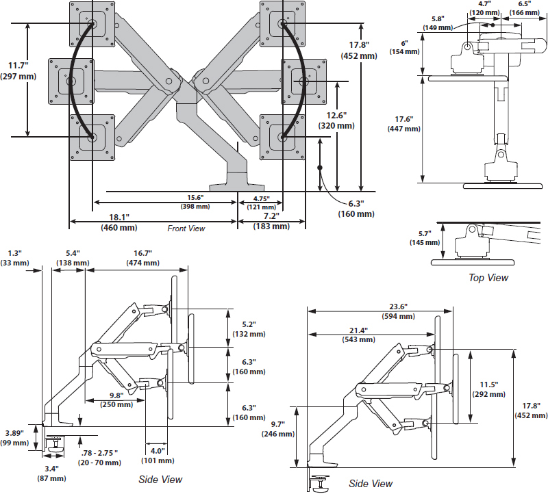 Technical drawing for Ergotron 45-475-216 HX Desk Mount Single Monitor Arm (white)