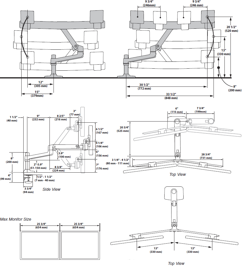 Technical drawing for Ergotron 45-489-216 LX Desk Mount Dual Direct Arm (white)