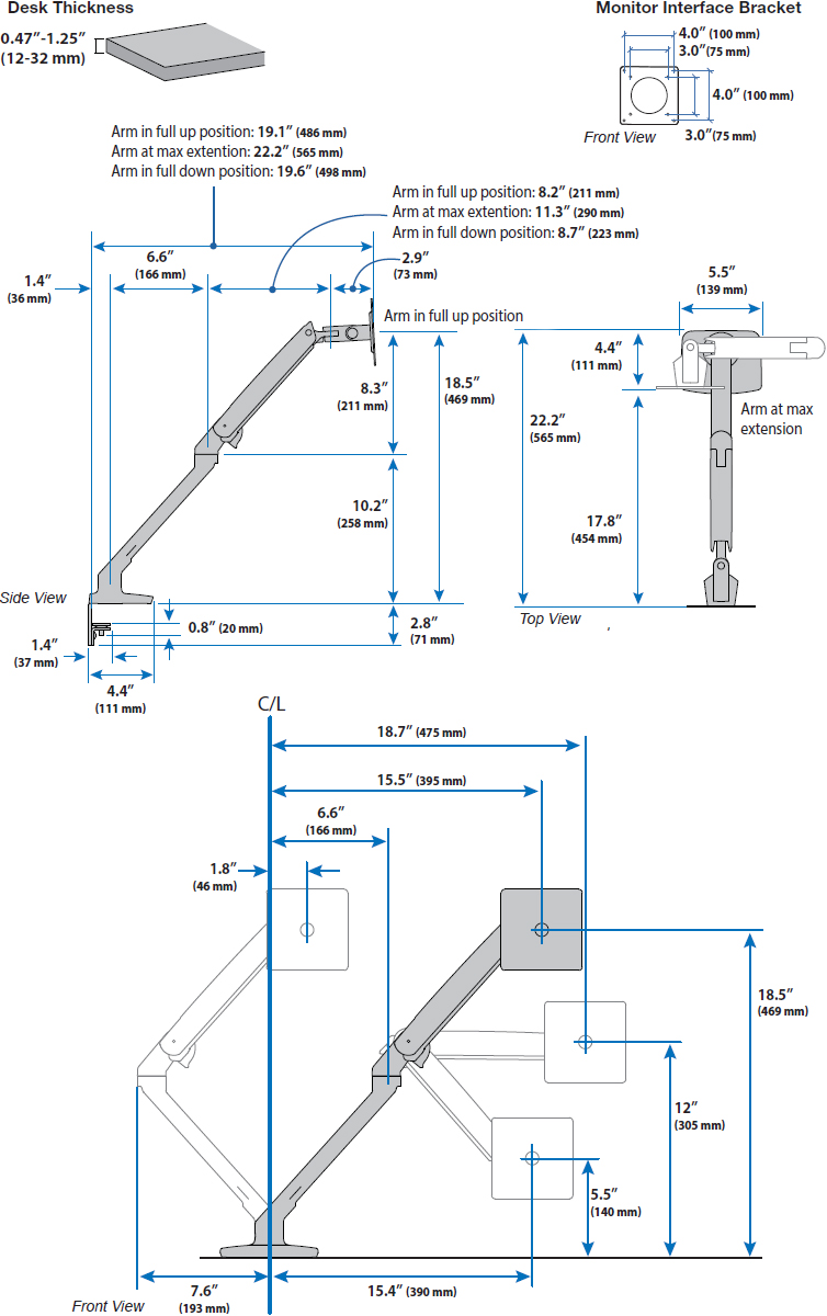 Technical Drawing for Ergotron 45-486-026 MXV Desk Mount LCD Monitor Arm (polished aluminum)