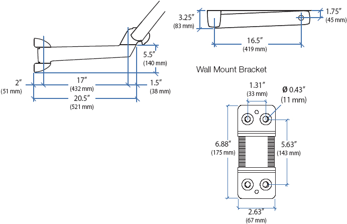 Technical drawing for Ergotron StyleView Sit-Stand Combo Extender