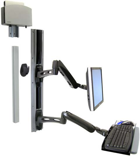 Ergotron 45-238-195 LX Wall Mount System with Vertical Universal CPU Holder Black