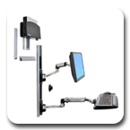 Ergotron 45-253-026 LX Wall Mount System with Small CPU Holder