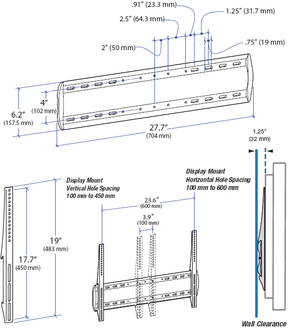 Technical Drawing for Ergotron 60-604-003 WM Low Profile Wall Mount