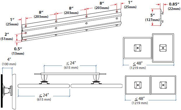 Technical Drawing for Ergotron 28-514-800 Neo-Flex Dual Monitor Wall Mount