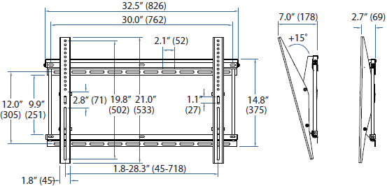 Technical Drawing for Ergotron 60-612 Neo-Flex Tilting Wall Mount, UHD
