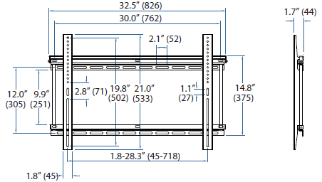Technical Drawing for Ergotron 60-614 Neo-Flex Wall Mount, UHD