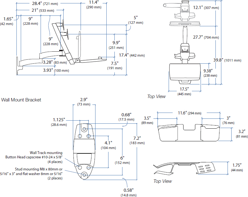 Technical drawing for Ergotron 45-230-200 - 200 Series Combo Arm (black)
