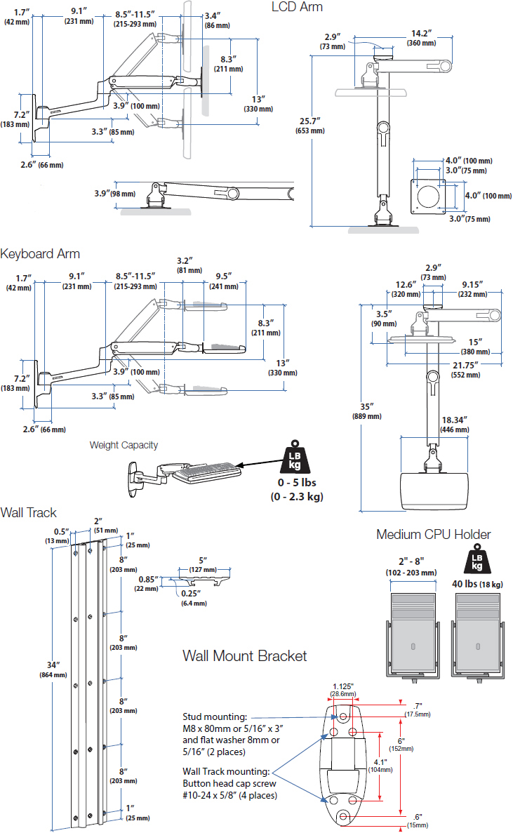 Technical Drawing for Ergotron 45-247-026 LX Wall Mount System