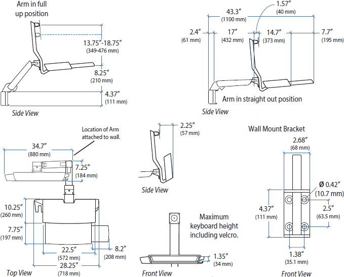 Technical Drawing for Ergotron 45-260-026 StyleView Sit-Stand Combo Arm with Worksurface