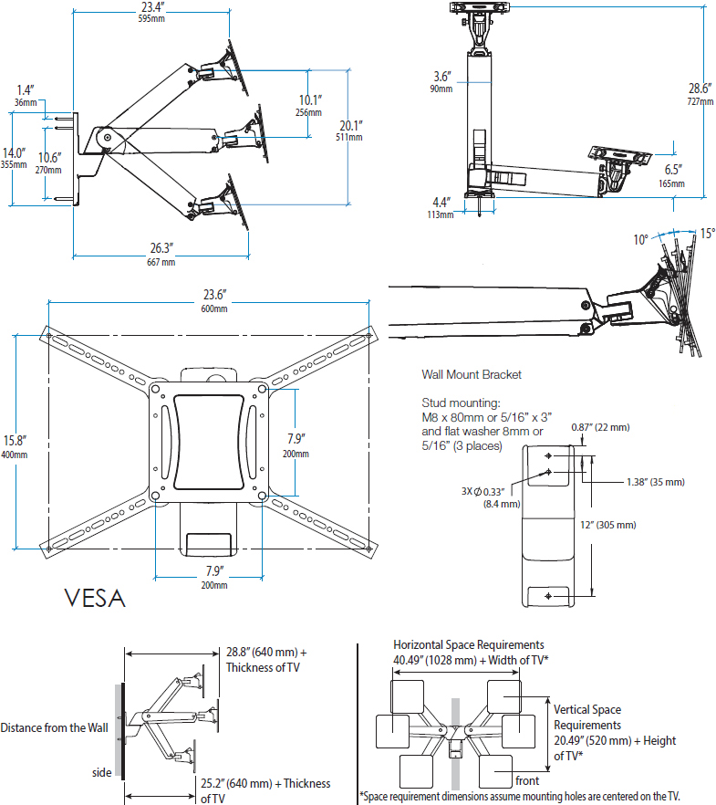 Technical Drawing for Ergotron 45-304-026 Height Adjustable Wall Mount Arm for TV, VHD
