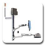 Ergotron 45-359-026 LX Sit-Stand Wall Mount System with Small CPU Holder