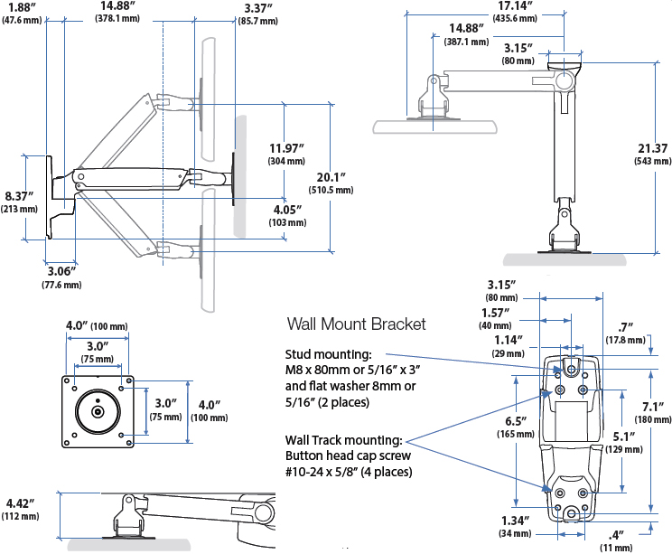 Technical Drawing for Ergotron 45-361-026 Height Adjustable Wall Mount Arm for TV, LD