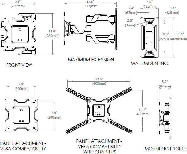 Technical Drawing for Ergotron 45-385-223 Neo-Flex Cantilever Wall Mount, VHD