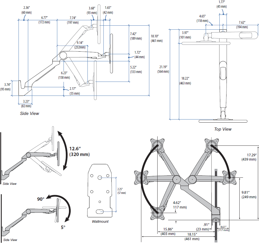 Technical drawing for Ergotron 45-437-026 MX Mini Wall Mount Monitor Arm