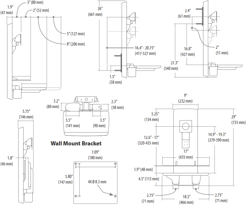 Technical Drawing for Ergotron 61-080-085 SV Sit-Stand Vertical Lift, Patient Room