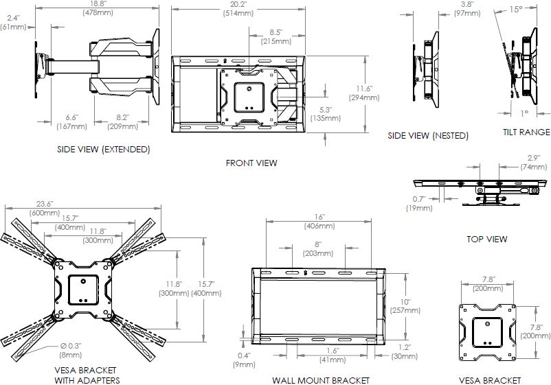 Technical Drawing for Ergotron 61-132-223 Neo-Flex Cantilever Wall Mount, UHD