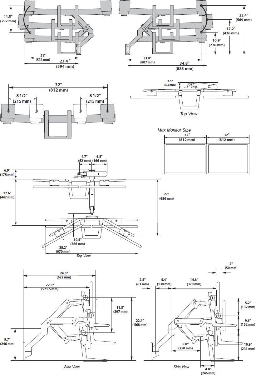 Ergotron 45 479 026 Hx Wall Dual Monitor Arm Polished