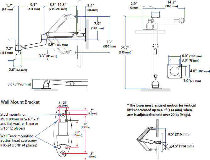 Technical drawing for Ergotron LX Wall Mount Monitor Arm (matte black) - 45-243-224