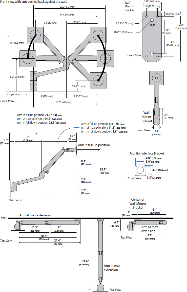 Technical Drawing for Ergotron 45-505-216 MXV Wall Mount LCD Monitor Arm (white)