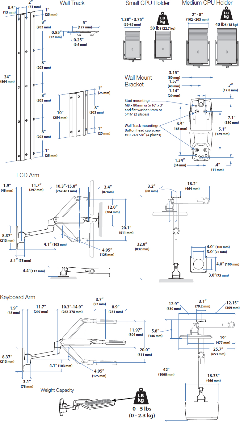 Technical Drawing for Ergotron 45-358-026 LX Sit-Stand Wall Mount System