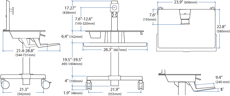 Technical Drawing for Ergotron 24-215-085 WorkFit-C, Single LD Sit-Stand Workstation