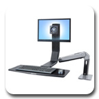 Ergotron 24-313-026 WorkFit-A Single LD LED Monitor Sit-Stand Workstation