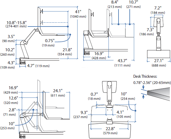 Technical Drawing for Ergotron 24-314-026 WorkFit-A Single HD Monitor with Worksurface