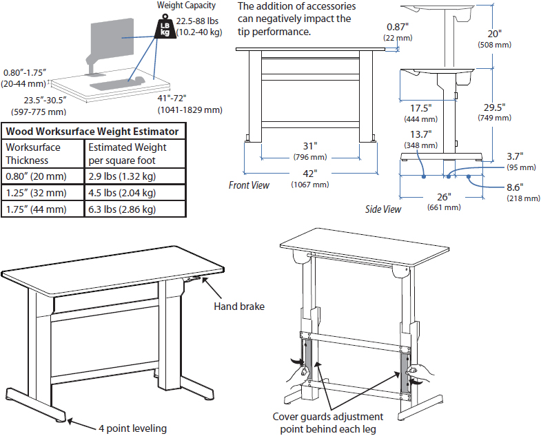 Technical Drawing for Ergotron 24-388-009 WorkFit-B, Sit-Stand Base, HD