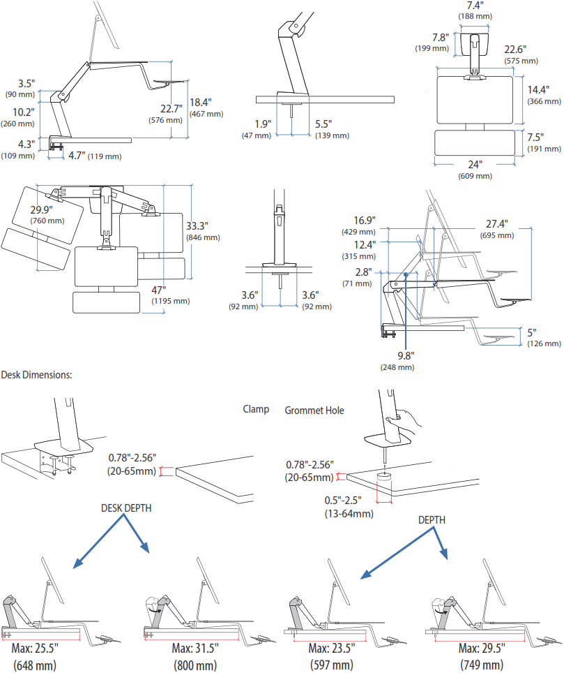 Technical Drawing for Apple Compatible Ergotron 24-414-227 WorkFit-A Sit-Stand Workstation, Silver