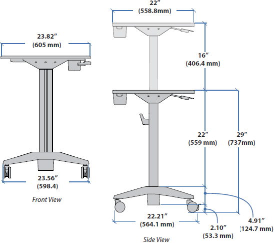 Technical Drawing for Ergotron 24-547-003 LearnFit Sit-Stand Student Desk - Shorter Worksurface Height