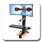 Ergotron 33-341-200 WorkFit-S, Dual Monitor Sit-Stand Workstation