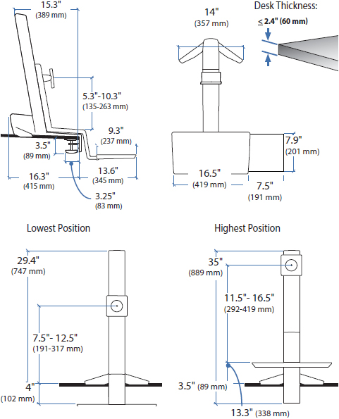 Technical Drawing for Ergotron 33-344-200 WorkFit-S, Single HD Sit-Stand Workstation