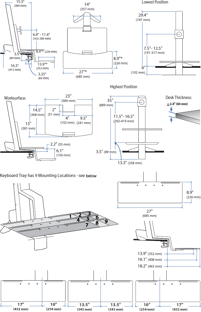 Technical Drawing for Ergotron 33-350-211 WorkFit-S, Single LD with Worksurface